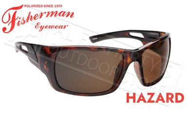 Fisherman Eyewear Hazard Polarized Sunglasses, Shiny Tortoise Frame with Brown Lens #50460202?>
