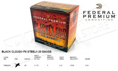 Federal Black Cloud FS Steel 20 Gauge Box of 25 #PWB209?>