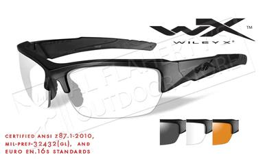 Wiley X Valor Shooting Glasses Combo with Clear Smoke Grey and Light Rust Lenses and Matte Black Frames #CHVAL06?>