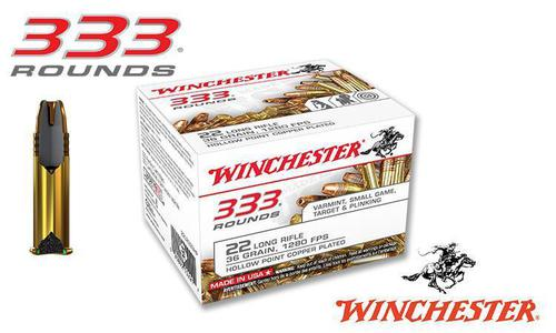 Winchester 22LR 333 Value Pack, 36 Grain JHP High Velocity, 1280 FPS, 333 Round Box #22LR333HP?>