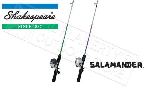 "Shakespeare Salamander Youth Spincast Combos, 4'6"" Rod, Pink or Green #SALSCCBO?>"