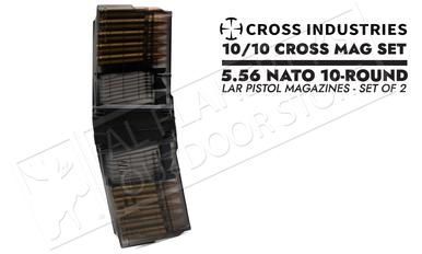 Cross Industries 5.56 NATO 10/10 Cross Mag Coupling AR-Pistol 10-Round Magazine Set - Smoke Black #CM10AR15P55645?>