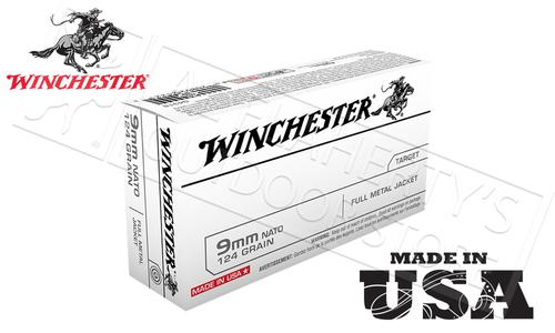 Winchester 9mm NATO Standard White Box, FMJ 124 Grain Box of 50 #Q4318?>