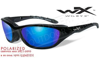 Wiley X AirRage Shooting Glasses with Polarized Blue Mirror Lens and Gloss Black Frame #698?>