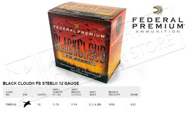 "Federal Black Cloud FS Steel 12 Gauge 3"", Box of 25 #PWB142?>"