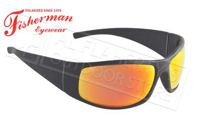 Fisherman Eyewear Bluefin Polarized Glasses, Matte Black Frame with Red Mirror Lens #96100709?>