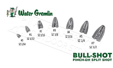 Water Gremlin BULL-SHOT Pinch On Bullet Weights, Various Size Zip Lip Pack #PBS?>