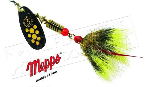 Mepps Black Fury Spinners, Inline, Dressed Treble Hook, Size 4, 1/3 oz. #BF4D?>