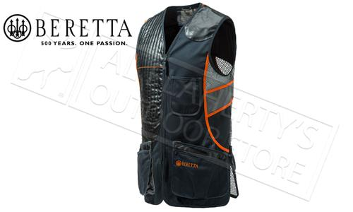 Beretta Sporting Vest in Black and Orange, Sizes M-4XL #GT691021130945?>