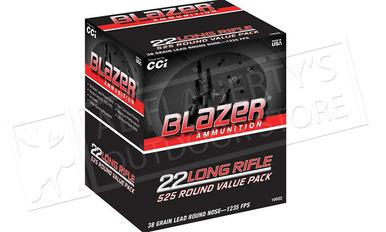 CCI Blazer Bulk Pack 22LR Target Ammunition, 38 Grain, High Velocity, Pack of 525 #10022?>