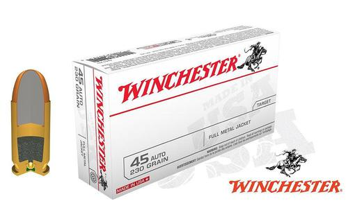 Winchester .45ACP White Box, FMJ 230 Grain Box of 50 or 500 rounds for $179.90 #Q4170?>