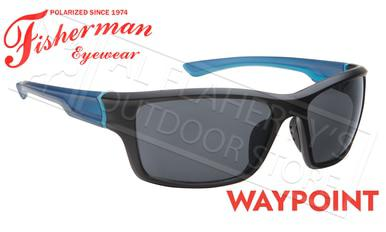 Fisherman Eyewear Waypoint Polarized Sunglasses, Matte Black and Blue Frame with Gray Lens #50663001?>