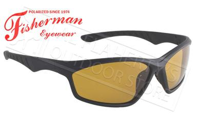 Fisherman Eyewear Polarsensor Delta Polarized Sunglasses, Black with Amber Lens #96100736?>