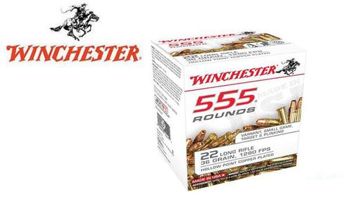 Winchester 22LR 555 Value Pack, 36 Grain JHP High Velocity, 1280 FPS, 555 Round Box #22LR555HP?>
