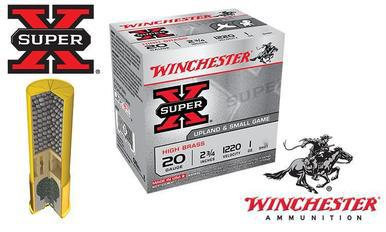 "Winchester Super-X Upland Shells 20 Gauge 2-3/4"" #4 to #7-1/2 Shot, Boxes of 25 #X20?>"