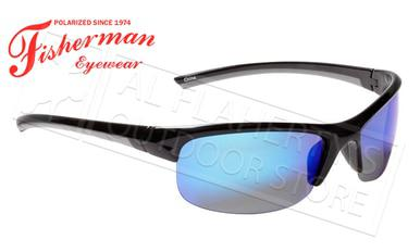 Fisherman Eyewear Tern Polarized Glasses, Shiny Black Frame with Blue Mirror Lens #50593031?>