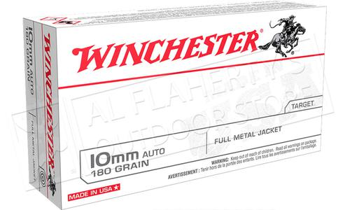 Winchester 10mm AUTO White Box - 180 Gr FMJ Box of 50 #USA10MM?>