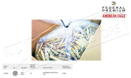 Federal American Eagle 223 Rem FMJ Boat Tail Box of Bullets, 55 Grain Case of 1000 #AE223BK?>