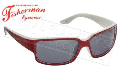 Fisherman Eyewear Upstream Polarized Glasses, Red and White with Grey Lens #50443901?>