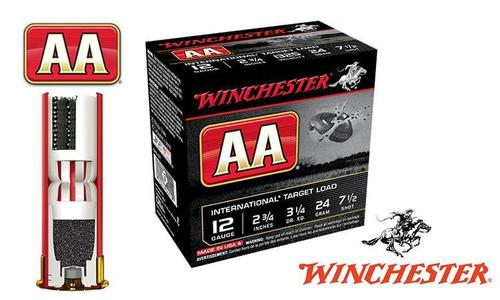 "(Store Pick up Only) Winchester AA International Target Load 12 Gauge #7-1/2, 2-3/4"", 24 grams 1325 fps, Case of 250 #AANL127-CASE?>"