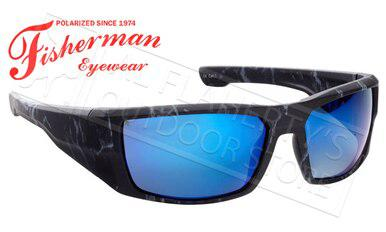 Fisherman Eyewear Bayou Polarized Sunglasses, Black Stormcloud with Blue Mirror Mirror Lens #50283431?>