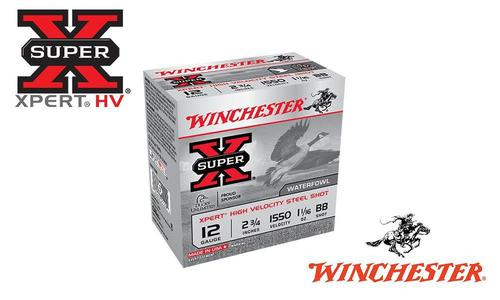 "Winchester Super-X Xpert High Velocity Waterfowl Shells 12 Gauge 2-3/4"" Steel Shot, 1-1/16 oz. 1550 FPS, Box of 25 #WEX12?>"
