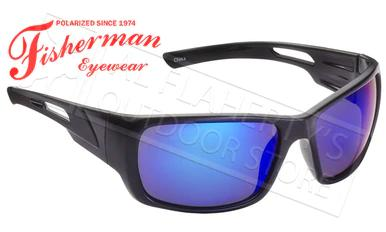 Fisherman Eyewear Hazard Polarized Sunglasses, Black with Blue Mirror Lens #50460031?>
