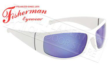 Fisherman Eyewear Bluefin Polarized Sunglasses, White with Blue Mirror Lens #96100710?>