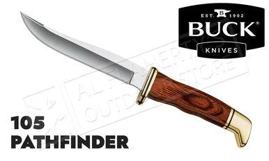 Buck Knives 105 Pathfinder Fixed Blade with Leather Sheath #0105BRS-B?>