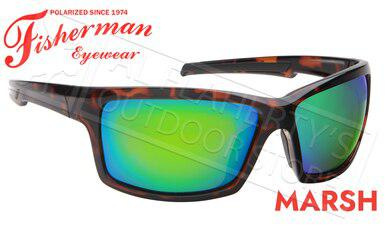 Fisherman Eyewear Marsh Polarized Sunglasses, Shiny Tortoise Frame with Green Mirror Lens #50680262?>