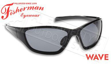 Fisherman Eyewear Wave Polarized Sunglasses, Shiny Black Frame with Gray Lens #50050001?>