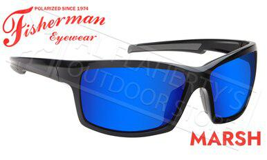 Fisherman Eyewear Marsh Polarized Sunglasses, Shiny Black Frame with Blue Mirror Lens #50680031?>