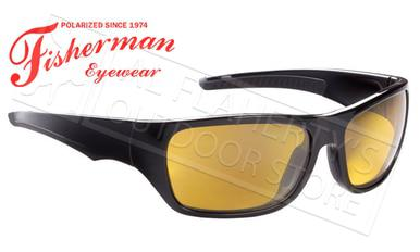 Fisherman Eyewear Backwater Polarized Sunglasses, Black with Amber Lens #50513003?>