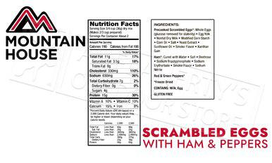 Mountain House Pouch - Scrambled Eggs with Ham, Red & Green Peppers, 2 Servings #53425?>