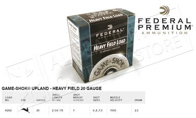 "Federal Game-Shok Upland Heavy Field Load 20 Gauge 2-3/4"", Box of 25 #H202?>"