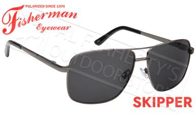 Fisherman Eyewear Skipper Polarized Sunglasses, Gunmetal Frame with Gray Lens #50652301?>