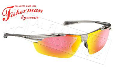 Fisherman Eyewear Ray Polarized Glasses, Matte Gunmetal Frame with Red Mirror Lens #50252321?>