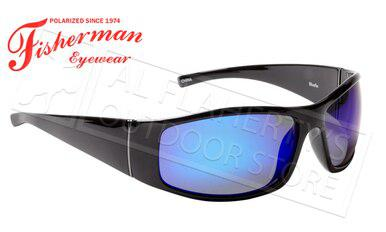 Fisherman Eyewear Bluefin Polarized Glasses, Matte Black Frame with Blue Mirror Lens #50573031?>