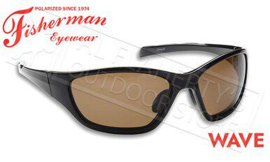 Fisherman Eyewear Wave Polarized Sunglasses, Shiny Black Frame with Brown Lens #50050002?>