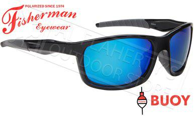 Fisherman Eyewear Buoy Polarized Sunglasses - Floating, Shiny Black  Frame with Blue Mirror Lens #50640031?>