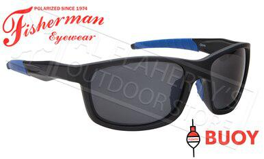 Fisherman Eyewear Buoy Polarized Sunglasses - Floating, Matte Black and Royal Blue Frame with Silver Flash Mirror Lens #50643041?>