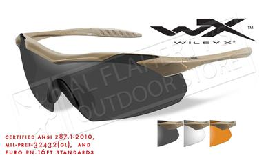Wiley X Vapor Shooting Glasses Combo with Clear Smoke Grey and Light Rust Lenses and Tan Frames #3512?>