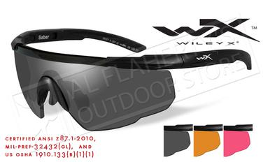 Wiley X Saber Advanced Shooting Glasses Combo with Gray Vermillion and Rust Lenses and Matte Black Frame #309?>