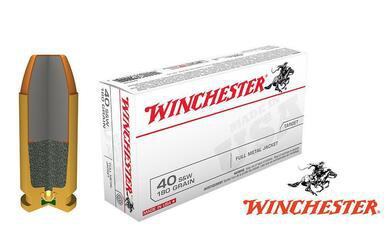 Winchester .40S&W White Box, TFMJ 180 Grain Box of 50 #Q4238?>