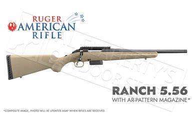 Ruger American Ranch Rifle FDE in 5.56 with AR Magazine and Threaded Barrel #36928?>