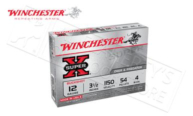 "Winchester Super-X Buckshot for Deer and Predator 12 Gauge 3-1/2"", 4-Buck 54 Pellet Box of 5 #XB12L4?>"