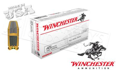 Winchester .45ACP White Box, FMJ 185 Grain Box of 50 #USA45A?>
