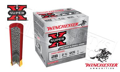 "Winchester Super X Upland High Brass Shells 28 Gauge 2-3/4"" #6 or #7-1/2  Shot, Box of 25 #X28H?>"