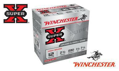 "Winchester Super X High Brass Upland Shells 12 Gauge #4, 5, 6, 7-1/2 Shot, 2-3/4"", 1-1/4 oz., 1330 fps, Box of 25 #X12?>"