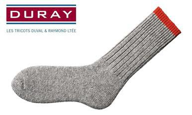 Duray Ultimate Thermal Wool Work Sock, Natural Grey with Red, Size Large #1165?>